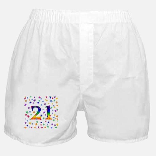 Rainbow Stars 21st Birthday Boxer Shorts