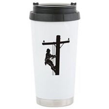 lineman silhouette 1_bl Travel Mug