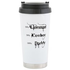 3 coyboy lineman daddy_ Travel Mug