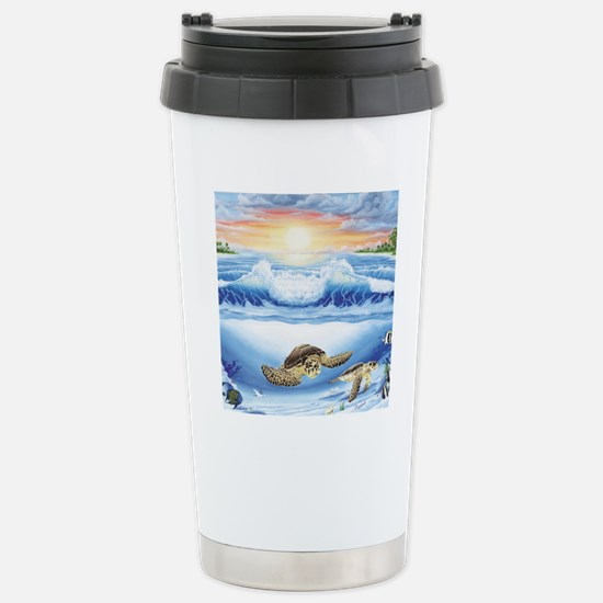 3-turtles world square Stainless Steel Travel Mug