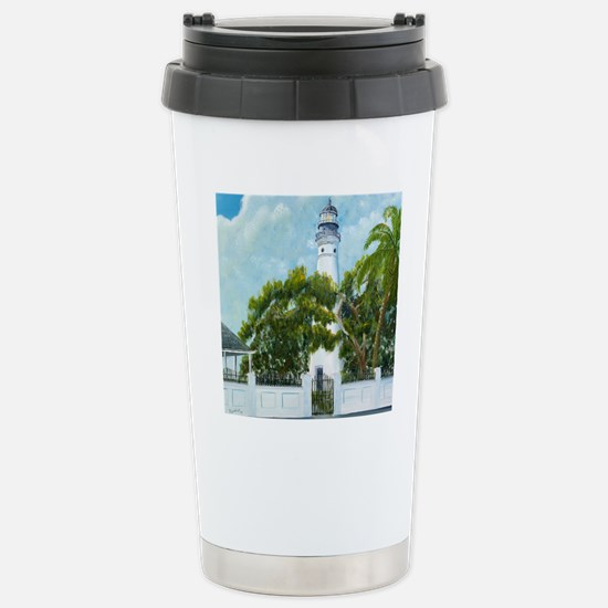 Key West Light square c Stainless Steel Travel Mug