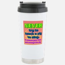 NEVER try to teach a pi Stainless Steel Travel Mug