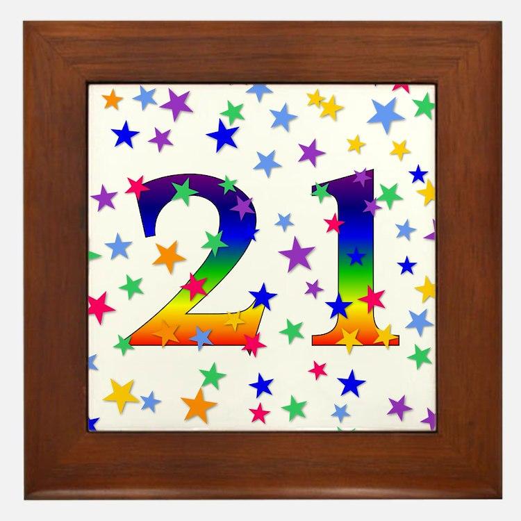 Rainbow Stars 21st Birthday Framed Tile