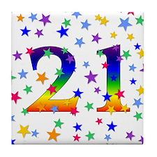Rainbow Stars 21st Birthday Tile Coaster