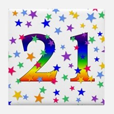Rainbow Stars 21st Birthday Tile Coaster