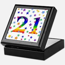 Rainbow Stars 21st Birthday Keepsake Box