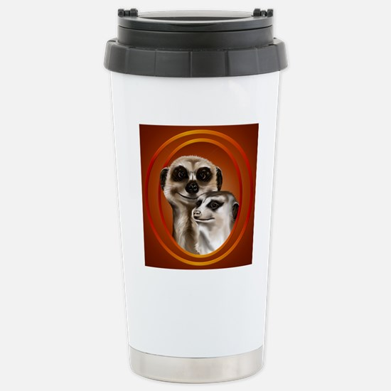 Meerkat Couple-circle Stainless Steel Travel Mug