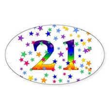 Rainbow Stars 21st Birthday Oval Decal