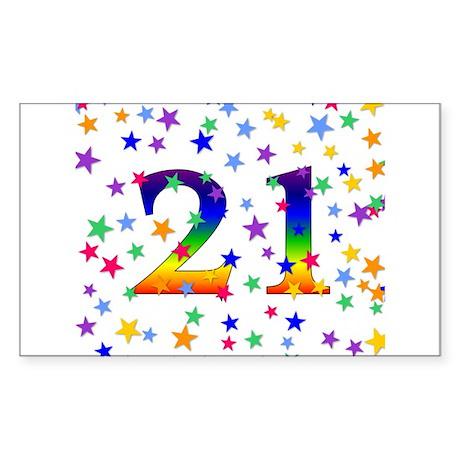 Rainbow Stars 21st Birthday Rectangle Sticker