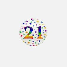 Rainbow Stars 21st Birthday Mini Button