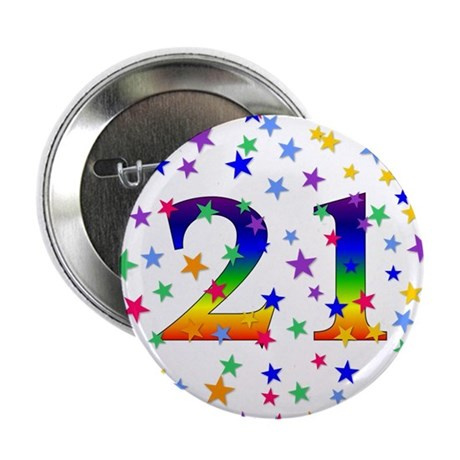 Rainbow Stars 21st Birthday Button