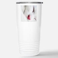 white cat mousepad Stainless Steel Travel Mug