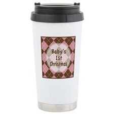 Argyle1stChristmasPinkB Travel Coffee Mug