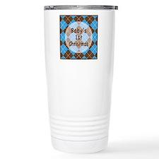 Argyle1stChristmasBlue Travel Mug