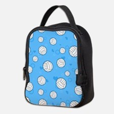 Cute Volleyball Pattern Blue Neoprene Lunch Bag