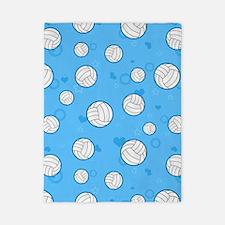 Cute Volleyball Pattern Blue Twin Duvet