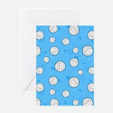 Cute Volleyball Pattern Blue Greeting Cards