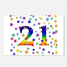 Rainbow Stars 21st Birthday Postcards (Package of