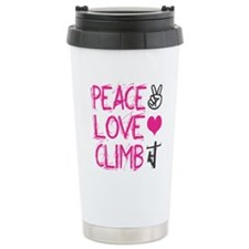 peace love climb pink Travel Mug