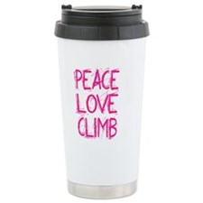 peace love climb pink w Travel Coffee Mug