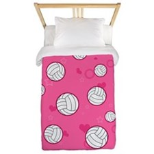 Cute Volleyball Pattern Pink Twin Duvet