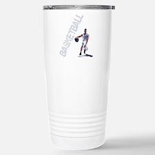 basketball_dribble_wht  Stainless Steel Travel Mug