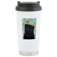 Black Pug circles Travel Mug