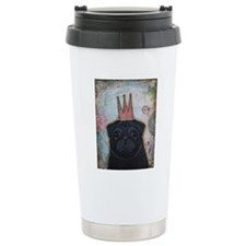 Black Pug Crowned Travel Mug