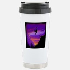 Snowboarder off cliff t Stainless Steel Travel Mug