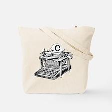 C Antique Typewriter Monogram Tote Bag
