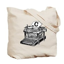C Antique Typewriter Monogram Tote Bag