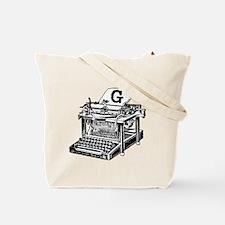 G Antique Typewriter Monogram Tote Bag