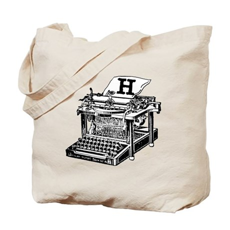 H Antique Typewriter Monogram Tote Bag