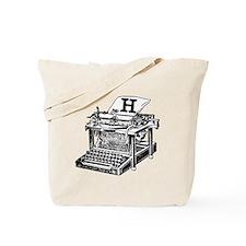 H Antique Typewriter Monogram Tote Bag