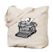 J Antique Typewriter Monogram Tote Bag