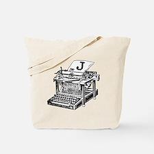 J Antique Typewriter Monogram Tote Bag