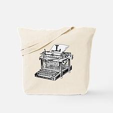 L Antique Typewriter Monogram Tote Bag