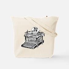 N Antique Typewriter Monogram Tote Bag