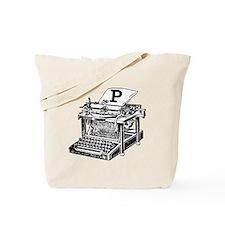 P Antique Typewriter Monogram Tote Bag