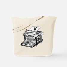 V Antique Typewriter Monogram Tote Bag