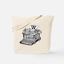 W Antique Typewriter Monogram Tote Bag