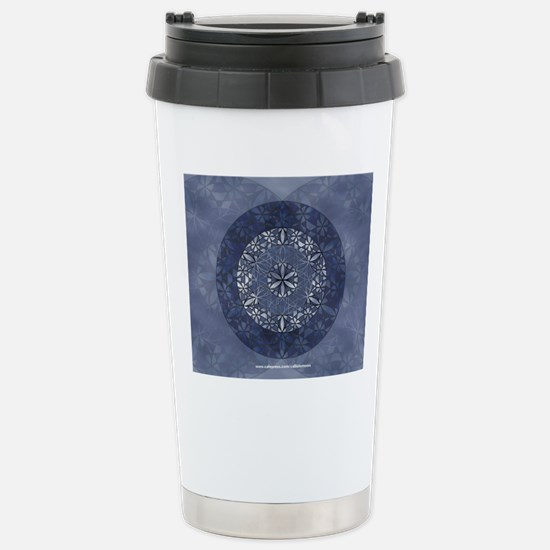 Flower of Life_Blue_9x7 Stainless Steel Travel Mug