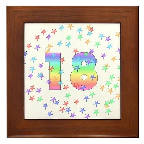 18th Birthday Pastel Stars Framed Tile