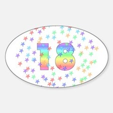 18th Birthday Pastel Stars Oval Decal