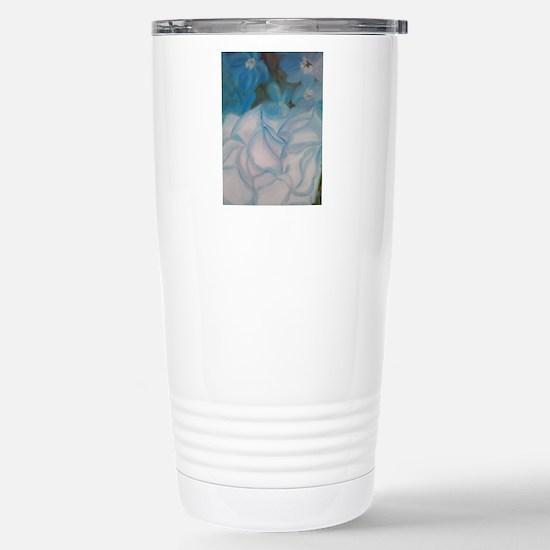 Blue Flowers Stainless Steel Travel Mug