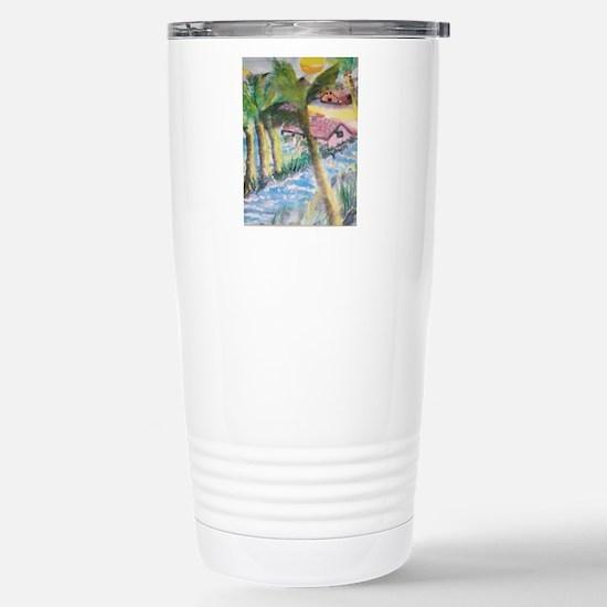 Tropical Scene Stainless Steel Travel Mug