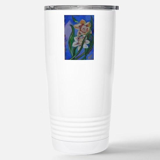 Gold Flowers Stainless Steel Travel Mug