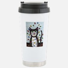 Cat in Christmas Lights Travel Mug