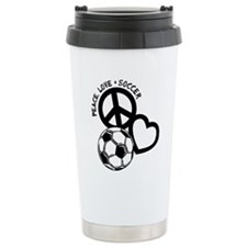 P,L,Soccer, black Travel Mug