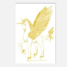 Gold Flying Unicorn/Alicorn Postcards (Package of